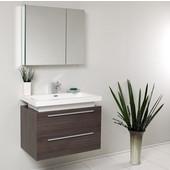 Medio 32'' Gray Oak Modern Bathroom Vanity with Medicine Cabinet, Dimensions of Vanity: 31-3/8'' W x 18-3/4'' D x 24'' H