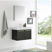 Vista 30'' Black Wall Hung Modern Bathroom Vanity with Medicine Cabinet, Dimensions of Vanity: 29-1/2'' W x 18-7/8'' D x 21-5/8'' H