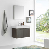 Vista 30'' Gray Oak Wall Hung Modern Bathroom Vanity with Medicine Cabinet, Dimensions of Vanity: 29-1/2'' W x 18-7/8'' D x 21-5/8'' H