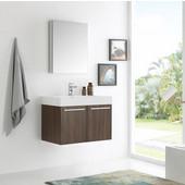 Vista 30'' Walnut Wall Hung Modern Bathroom Vanity with Medicine Cabinet, Dimensions of Vanity: 29-1/2'' W x 18-7/8'' D x 21-5/8'' H