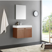 Vista 30'' Teak Wall Hung Modern Bathroom Vanity with Medicine Cabinet, Dimensions of Vanity: 29-1/2'' W x 18-7/8'' D x 21-5/8'' H