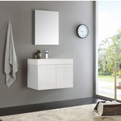 Vista 30'' White Wall Hung Modern Bathroom Vanity with Medicine Cabinet, Dimensions of Vanity: 29-1/2'' W x 18-7/8'' D x 21-5/8'' H