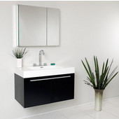 Vista 36'' Black Wall Hung Modern Bathroom Vanity with Medicine Cabinet, Dimensions of Vanity: 35-3/8'' W x 18-3/4'' D x 21-3/4'' H