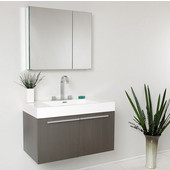 Vista 36'' Gray Oak Modern Bathroom Vanity with Medicine Cabinet, Dimensions of Vanity: 35-3/8'' W x 18-3/4'' D x 21-3/4'' H
