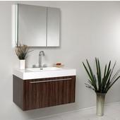 Vista 36'' Walnut Modern Bathroom Vanity with Medicine Cabinet, Dimensions of Vanity: 35-3/8'' W x 18-3/4'' D x 21-3/4'' H