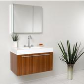 Vista 36'' Teak Modern Bathroom Vanity with Medicine Cabinet, Dimensions of Vanity: 35-3/8'' W x 18-3/4'' D x 21-3/4'' H