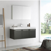 Vista 48'' Black Wall Hung Modern Bathroom Vanity with Medicine Cabinet, Dimensions of Vanity: 47-5/16'' W x 18-7/8'' D x 21-5/8'' H