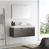 Vista 48'' Gray Oak Wall Hung Modern Bathroom Vanity with Medicine Cabinet, Dimensions of Vanity: 47-5/16'' W x 18-7/8'' D x 21-5/8'' H