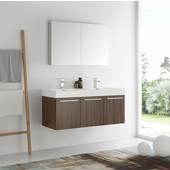 Vista 48'' Walnut Wall Hung Double Sink Modern Bathroom Vanity with Medicine Cabinet, Dimensions of Vanity: 47-5/16'' W x 18-7/8'' D x 21-5/8'' H