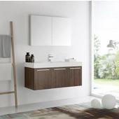 Vista 48'' Walnut Wall Hung Modern Bathroom Vanity with Medicine Cabinet, Dimensions of Vanity: 47-5/16'' W x 18-7/8'' D x 21-5/8'' H