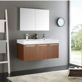 Vista 48'' Teak Wall Hung Double Sink Modern Bathroom Vanity with Medicine Cabinet, Dimensions of Vanity: 47-5/16'' W x 18-7/8'' D x 21-5/8'' H