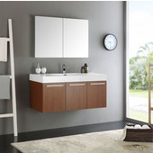 Vista 48'' Teak Wall Hung Modern Bathroom Vanity with Medicine Cabinet, Dimensions of Vanity: 47-5/16'' W x 18-7/8'' D x 21-5/8'' H