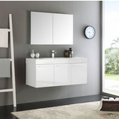 Vista 48'' White Wall Hung Modern Bathroom Vanity with Medicine Cabinet, Dimensions of Vanity: 47-5/16'' W x 18-7/8'' D x 21-5/8'' H