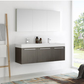 Vista 60'' Gray Oak Wall Hung Double Sink Modern Bathroom Vanity with Medicine Cabinet, Dimensions of Vanity: 59'' W x 18-7/8'' D x 21-5/8'' H