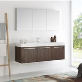 Vista 60'' Walnut Wall Hung Single Sink Modern Bathroom Vanity with Medicine Cabinet, Dimensions of Vanity: 59'' W x 18-7/8'' D x 21-5/8'' H
