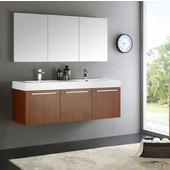 Vista 60'' Teak Wall Hung Double Sink Modern Bathroom Vanity with Medicine Cabinet, Dimensions of Vanity: 59'' W x 18-7/8'' D x 21-5/8'' H
