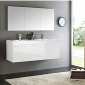 Vista 60'' White Wall Hung Double Sink Modern Bathroom Vanity with Medicine Cabinet, Dimensions of Vanity: 59'' W x 18-7/8'' D x 21-5/8'' H