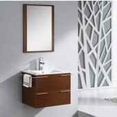 Cielo 24'' Wenge Brown Modern Wall Mounted Bathroom Vanity with Mirror, Dimensions of Vanity: 27-1/2'' W x 18-1/2'' D x 20'' H