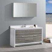 Allier Rio 60'' Ash Gray Single Sink Modern Bathroom Vanity w/ Medicine Cabinet, Vanity Base: 60'' W x 20-1/2'' D x 33-1/2'' H, Medicine Cabinet: 49'' W x 26'' H x 5'' D