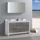 Allier Rio 60'' Ash Gray Double Sink Modern Bathroom Vanity w/ Medicine Cabinet, Vanity Base: 60'' W x 20-1/2'' D x 33-1/2'' H, Medicine Cabinet: 49'' W x 26'' H x 5'' D