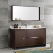 Allier 60'' Wenge Brown Modern Single Sink Bathroom Vanity with Mirror, Dimensions of Vanity: 60'' W x 21/2'' D x 33-1/2'' H