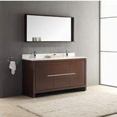 Allier 60'' Wenge Brown Modern Double Sink Bathroom Vanity with Mirror, Dimensions of Vanity: 60'' W x 21/2'' D x 33-1/2'' H
