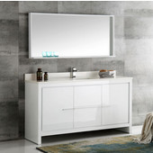 Allier 60'' White Modern Single Sink Bathroom Vanity with Mirror, Dimensions of Vanity: 60'' W x 21/2'' D x 33-1/2'' H