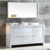 Allier 60'' White Modern Double Sink Bathroom Vanity with Mirror, Dimensions of Vanity: 60'' W x 21/2'' D x 33-1/2'' H