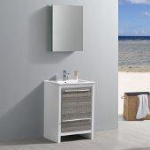 Allier Rio 24'' Ash Gray Modern Bathroom Vanity w/ Medicine Cabinet, Vanity Base: 23-1/2'' W x 18-1/2'' D x 33-1/2'' H, Medicine Cabinet: 19-1/2'' W x 5'' D x 26'' H