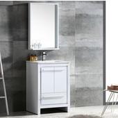 Allier 24'' White Modern Bathroom Vanity with Mirror, Dimensions of Vanity: 23-1/2'' W x 18-1/2'' D x 33-1/2'' H