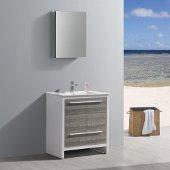 Allier Rio 30'' Ash Gray Modern Bathroom Vanity w/ Medicine Cabinet, Vanity Base: 29-1/2'' W x 18-1/2'' D x 33-1/2'' H, Medicine Cabinet: 19-1/2'' W x 5'' D x 26'' H