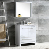 Allier 30'' White Modern Bathroom Vanity with Mirror, Dimensions of Vanity: 29-1/2'' W x 18-1/2'' D x 33-1/2'' H