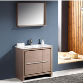 Allier 36'' Gray Oak Modern Bathroom Vanity with Mirror, Dimensions of Vanity: 35-3/8'' W x 18-1/2'' D x 33-1/2'' H
