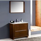Allier 36'' Wenge Brown Modern Bathroom Vanity with Mirror, Dimensions of Vanity: 35-3/8'' W x 18-1/2'' D x 33-1/2'' H