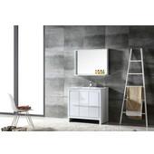 Allier 36'' White Modern Bathroom Vanity with Mirror, Dimensions of Vanity: 35-3/8'' W x 18-1/2'' D x 33-1/2'' H