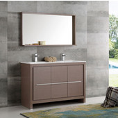 Allier 48'' Gray Oak Modern Double Sink Bathroom Vanity with Mirror, Dimensions of Vanity: 47-1/4'' W x 18-1/2'' D x 33-1/2'' H