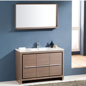 Allier 48'' Gray Oak Modern Bathroom Vanity with Mirror, Dimensions of Vanity: 47-1/4'' W x 18-1/2'' D x 33-1/2'' H