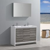 Allier Rio 48'' Ash Gray Double Sink Modern Bathroom Vanity w/ Medicine Cabinet, Vanity Base: 47-1/4'' W x 18-1/2'' D x 33-1/2'' H, Medicine Cabinet: 39-1/2'' W x 5'' D x 26'' H