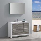 Allier Rio 48'' Ash Gray Single Sink Modern Bathroom Vanity w/ Medicine Cabinet, Vanity Base: 47-1/4'' W x 18-1/2'' D x 33-1/2'' H, Medicine Cabinet: 39-1/2'' W x 5'' D x 26'' H