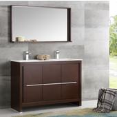 Allier 48'' Wenge Brown Modern Double Sink Bathroom Vanity with Mirror, Dimensions of Vanity: 47-1/4'' W x 18-1/2'' D x 33-1/2'' H