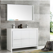 Allier 48'' White Modern Double Sink Bathroom Vanity with Mirror, Dimensions of Vanity: 47-1/4'' W x 18-1/2'' D x 33-1/2'' H