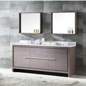 Allier 72'' Gray Oak Modern Double Sink Bathroom Vanity with Mirror, Dimensions of Vanity: 72'' W x 21-1/4'' D x 33-1/2'' H