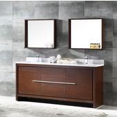 Allier 72'' Wenge Brown Modern Double Sink Bathroom Vanity with Mirror, Dimensions of Vanity: 72'' W x 21-1/2'' D x 33-1/2'' H