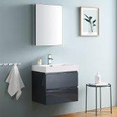 Valencia 24'' Dark Slate Gray Wall Hung Modern Bathroom Vanity w/ Medicine Cabinet, Vanity Base: 24'' W x 19'' D x 23-1/5'' H, Medicine Cabinet: 19-1/2'' W x 5'' D x 26'' H