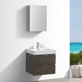 Valencia 24'' Gray Oak Wall Hung Modern Bathroom Vanity w/ Medicine Cabinet, Vanity Base: 24'' W x 19'' D x 23-1/5'' H, Medicine Cabinet: 19-1/2'' W x 5'' D x 26'' H