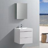 Valencia 24'' Glossy White Wall Hung Modern Bathroom Vanity w/ Medicine Cabinet, Vanity Base: 24'' W x 19'' D x 23-1/5'' H, Medicine Cabinet: 19-1/2'' W x 5'' D x 26'' H