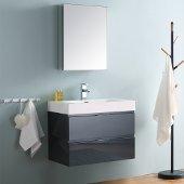 Valencia 30'' Dark Slate Gray Wall Hung Modern Bathroom Vanity w/ Medicine Cabinet, Vanity Base: 30'' W x 19'' D x 23-11/16'' H, Medicine Cabinet: 19-1/2'' W x 5'' D x 26'' H