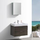 Valencia 30'' Gray Oak Wall Hung Modern Bathroom Vanity w/ Medicine Cabinet, Vanity Base: 30'' W x 19'' D x 23-11/16'' H, Medicine Cabinet: 19-1/2'' W x 5'' D x 26'' H