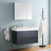 Valencia 36'' Dark Slate Gray Wall Hung Modern Bathroom Vanity w/ Medicine Cabinet, Vanity Base: 36'' W x 19'' D x 23-11/16'' H, Medicine Cabinet: 29-1/2'' W x 5'' D x 26'' H