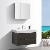 Valencia 36'' Gray Oak Wall Hung Modern Bathroom Vanity w/ Medicine Cabinet, Vanity Base: 36'' W x 19'' D x 23-11/16'' H, Medicine Cabinet: 29-1/2'' W x 5'' D x 26'' H